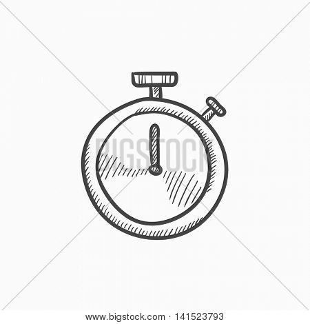 Stopwatch vector sketch icon isolated on background. Hand drawn Stopwatch icon. Stopwatch sketch icon for infographic, website or app.
