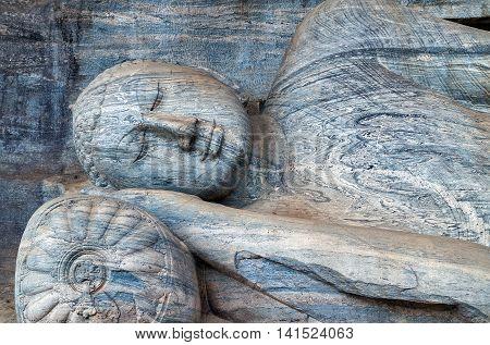 Statue Gautama Buddha Nirvana Entering Parinibbana At The Gal Vihara In Polonnaruwa.