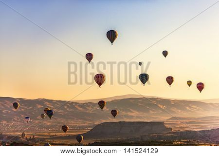 Lot Of Hot Air Balloon On Cappadocia Sky