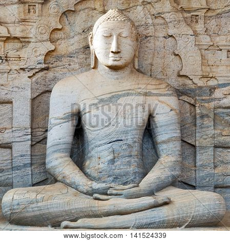 in rock sculpture Buddha, old stone sculpture Buddha cuiture asian buddhist
