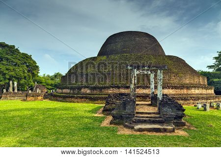 Ancient City Ruins Stupa In Polonnaruwa City Temple Sri Lanka. World Heritage Convention, Unesco