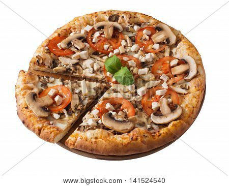 Tasty pizza with chicken mushrooms and tomato isolated on white