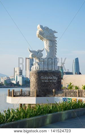DA NANG, VIETNAM - JANUARY 06, 2016: The sculpture dragon on the promenade in the early morning. Tourist landmark of the city Da Nang, Vietnam