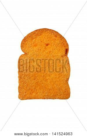 toast bread with sugarand butter on white background