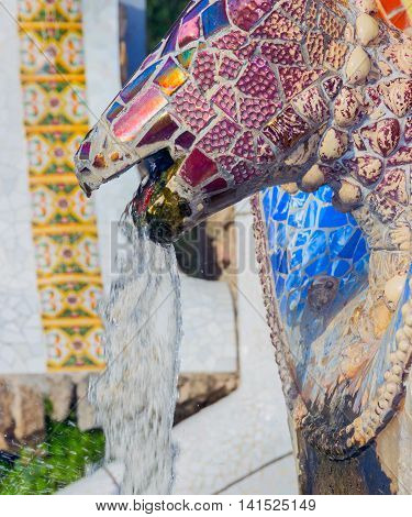 Famous Mosaic Snake Fountain At The Parc Guell