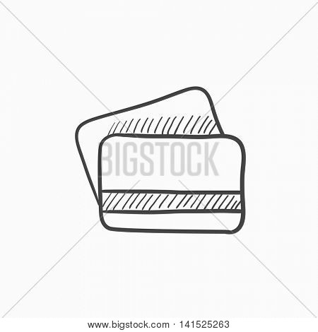 Credit cards vector sketch icon isolated on background. Hand drawn Credit cards icon. Credit cards sketch icon for infographic, website or app.