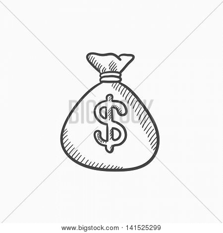 Money bag vector sketch icon isolated on background. Hand drawn Money bag icon. Money bag sketch icon for infographic, website or app.