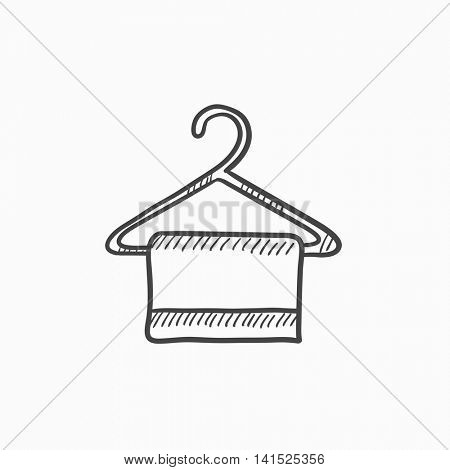 Towel on hanger vector sketch icon isolated on background. Hand drawn Towel on hanger icon. Towel on hanger sketch icon for infographic, website or app.