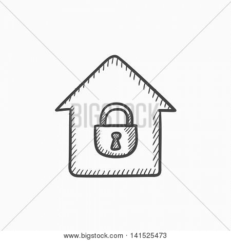 House with closed lock vector sketch icon isolated on background. Hand drawn House with closed lock icon. House with closed lock sketch icon for infographic, website or app.