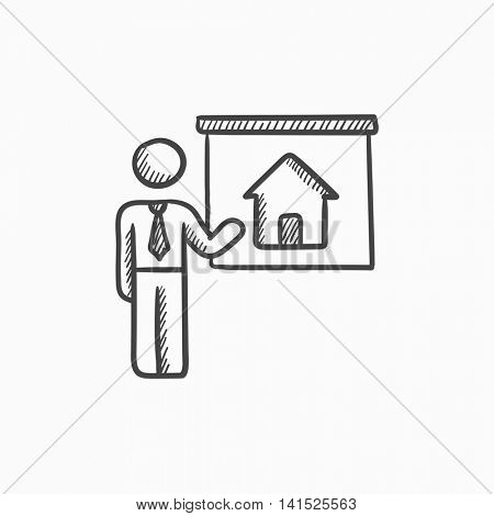 Real estate agent showing house vector sketch icon isolated on background. Hand drawn Real estate agent showing house icon. Real estate agent showing house sketch icon for infographic, website or app.