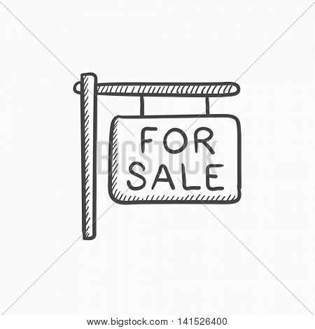For sale placard vector sketch icon isolated on background. Hand drawn For sale placard icon. For sale placard sketch icon for infographic, website or app.