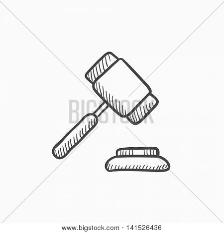 Auction gavel vector sketch icon isolated on background. Hand drawn Auction gavel icon. Auction gavel sketch icon for infographic, website or app.
