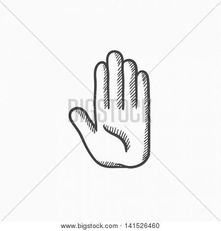 Medical glove vector sketch icon isolated on background. Hand drawn Medical glove icon. Medical glove sketch icon for infographic, website or app.