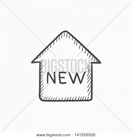 New house vector sketch icon isolated on background. Hand drawn New house icon. New house sketch icon for infographic, website or app.