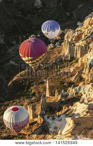 Small Group Of Hot Air Balloon On Cappadocia, Turkey