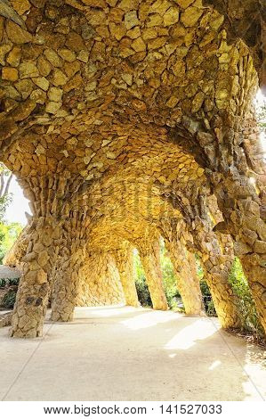 Large Organic Looking Columns Barcelona Spain By Famous Architecture Anthoni Gaudi.