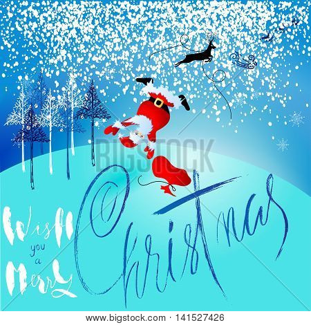 Santa Claus fall from sleigh with harness on the reindeer. Vector illustration. EPS10
