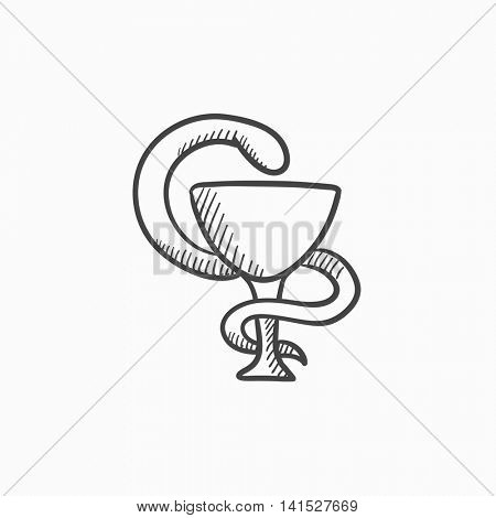 Pharmaceutical medical symbol vector sketch icon isolated on background. Hand drawn Pharmaceutical medical symbol icon. Pharmaceutical medical symbol sketch icon for infographic, website or app.