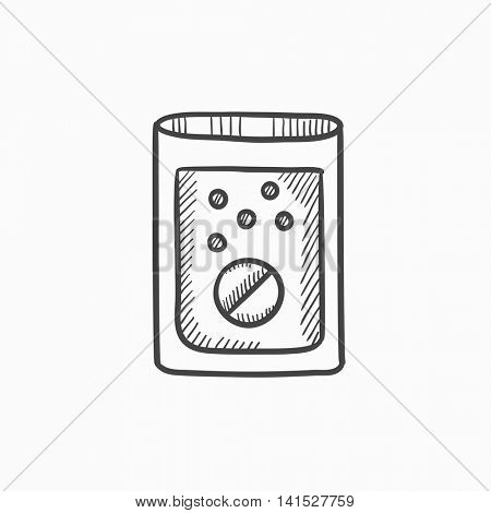 Tablet into glass of water vector sketch icon isolated on background. Hand drawn Tablet into glass of water icon. Tablet into glass of water sketch icon for infographic, website or app.