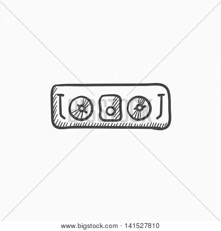 DJ console vector sketch icon isolated on background. Hand drawn DJ console icon. DJ console sketch icon for infographic, website or app.