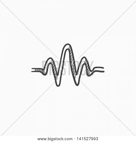 Sound wave vector sketch icon isolated on background. Hand drawn Sound wave icon. Sound wave sketch icon for infographic, website or app.