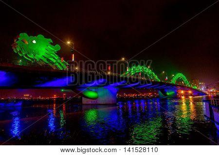 building Dragon Bridge at night Danang Vietnam