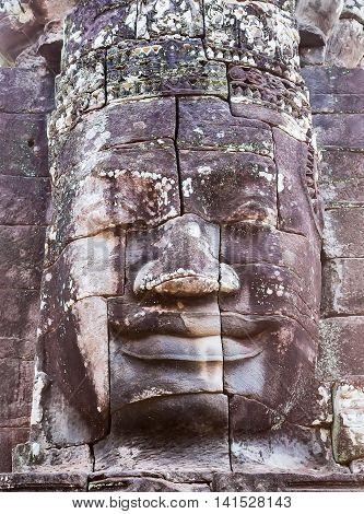 Stone Smiling Face In Prasat Bayon, Angkor, Cambodia