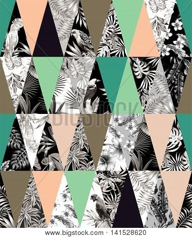 Trendy tropical patchwork illustrated floral vector tropical banana leaves hibiscus flower lilies plumeria bird parrot. Print poster wallpaper collage hawaii jungle seamless vector pattern