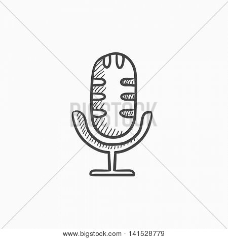Retro microphone vector sketch icon isolated on background. Hand drawn Retro microphone icon. Retro microphone sketch icon for infographic, website or app.