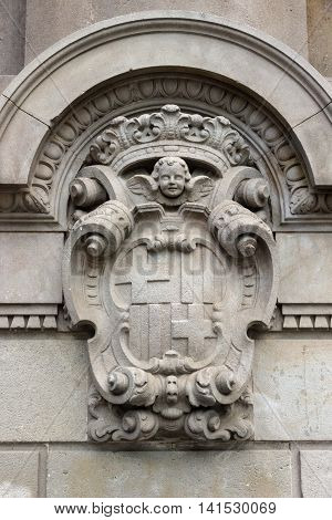 Detailed Old Heraldry Of Barcelona