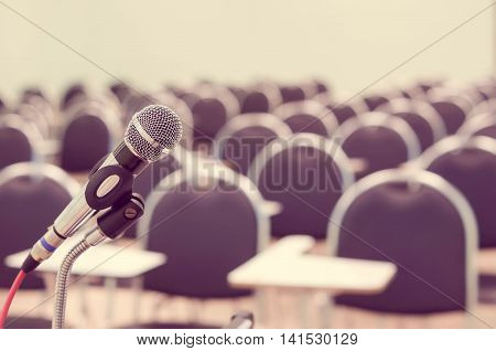 A microphone in empty classroom vintage tone