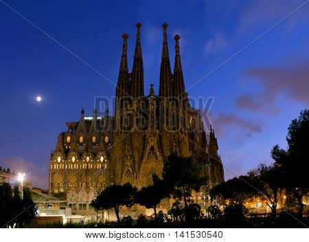 SPAIN - AUGUST 24: La Sagrada Familia in night - cathedral designed by Antoni Gaudi which is being build since 1882 and is not finished yet August 24 2012 in Barcelona Spain.
