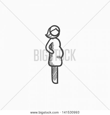 Pregnant woman vector sketch icon isolated on background. Hand drawn Pregnant woman icon. Pregnant woman sketch icon for infographic, website or app.