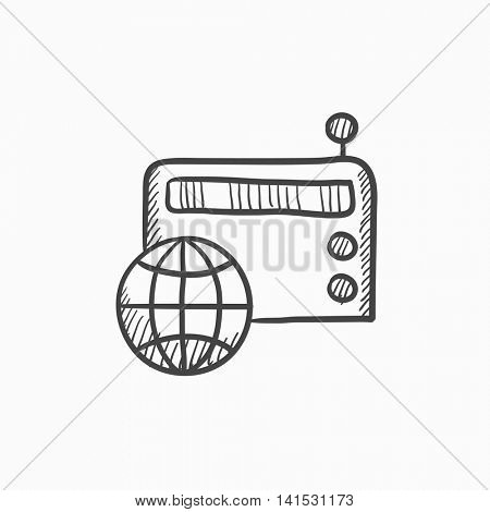 Retro radio vector sketch icon isolated on background. Hand drawn Retro radio icon. Retro radio sketch icon for infographic, website or app.