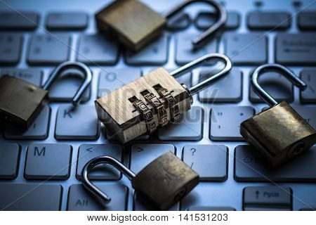 Security lock on computer keyboard - Computer security with data encryption concept