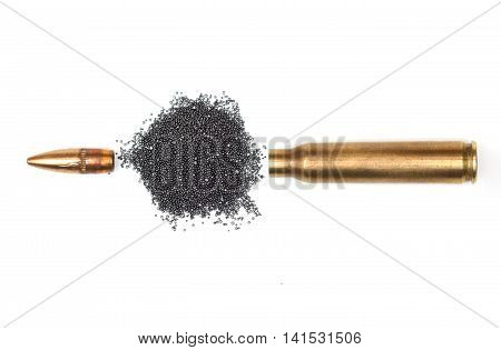 A rifle bullet with gun powder isolated