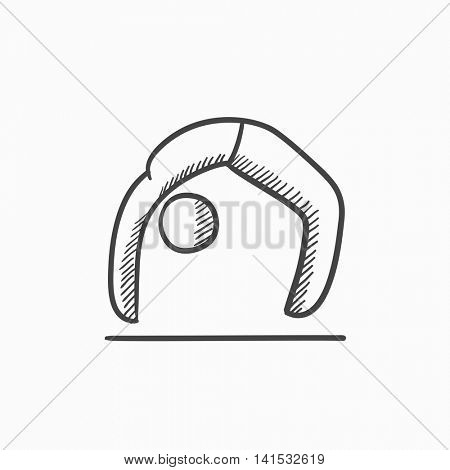 A man practicing yoga chakrasana pose vector sketch icon isolated on background. Hand drawn man in yoga chakrasana pose icon. Man in yoga chakrasana pose sketch icon for infographic, website or app.