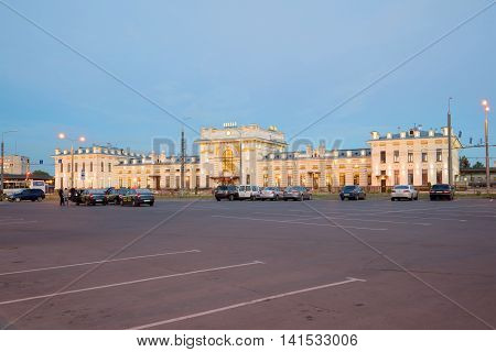 RYBINSK, RUSSIA - JULY 09, 2016: View on the building of the railway station in the july twilight. Historical landmark of the city Rybinsk, Yaroslavl region