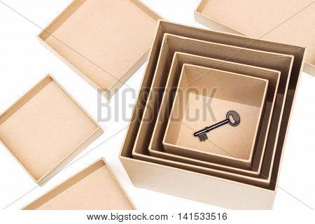 A key in boxes / Hidden secret concept