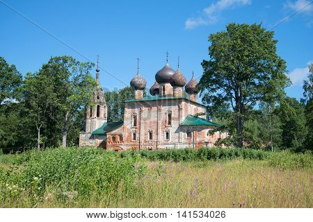 View of the ancient Church of the Epiphany, a sunny day in july. Hopylevo, Yaroslavl rrgion, Russia