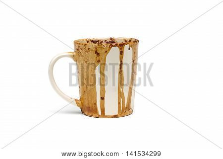 Dirty coffee cup due to putting a cup of coffee in a microwave oven