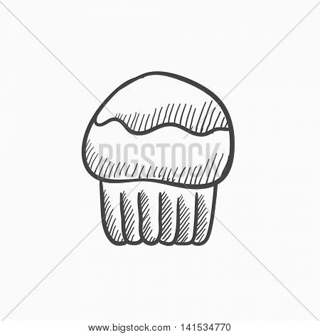 Cupcake vector sketch icon isolated on background. Hand drawn Cupcake icon. Cupcake sketch icon for infographic, website or app.