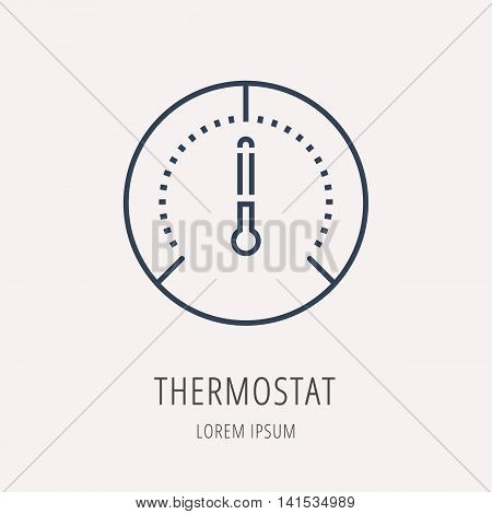 logo or label Thermostat. Line style logotype. Easy to use business template. Vector abstract sign or emblem.
