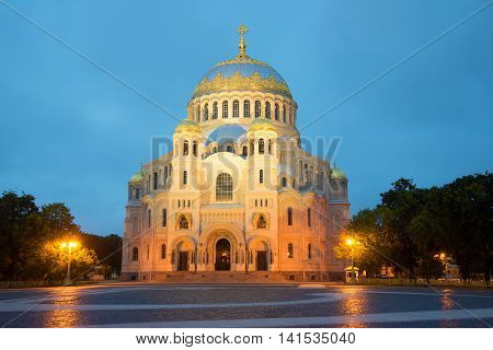 The old Naval Cathedral of St. Nicholas close up, white night. Kronshtadt, Russia