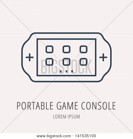 logo or label Portable Game Console. Line style logotype. Easy to use business template. Vector abstract sign or emblem.