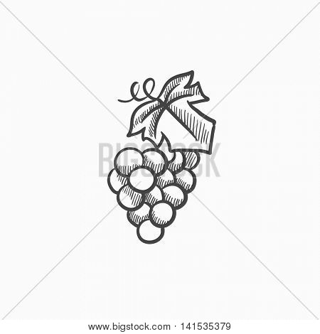 Bunch of grapes vector sketch icon isolated on background. Hand drawn Bunch of grapes icon. Bunch of grapes sketch icon for infographic, website or app.