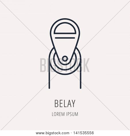 logo or label Belay. Line style logotype. Easy to use business template. Vector abstract sign or emblem.