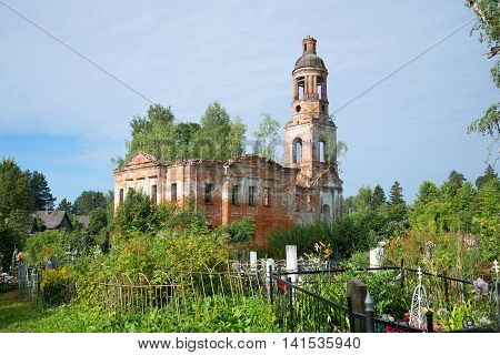 Abandoned Church of the exaltation of the Holy cross in the village Chachkovo. Yaroslavl region, Russia