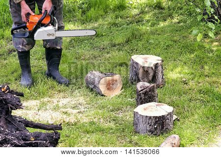 A man with a chainsaw sawing a tree trunk into smaller sections.