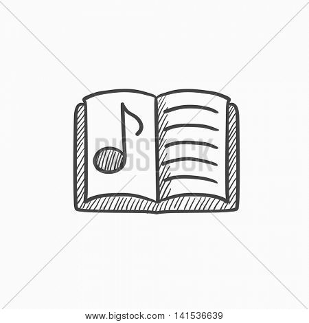 Music book vector sketch icon isolated on background. Hand drawn Music book icon. Music book sketch icon for infographic, website or app.